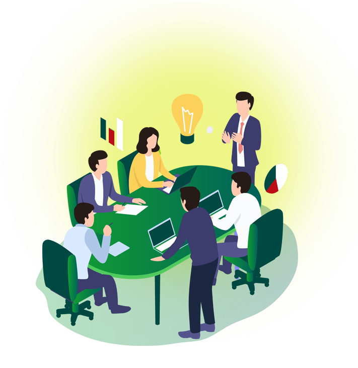 Meeting Illustration, Business professionals meet around a green table with laptops and notes. A man with a suit and tie stands next to a large lightbulb.